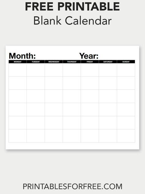 Blank Calendar (Monthly - Monday Start Free Organizing Printables