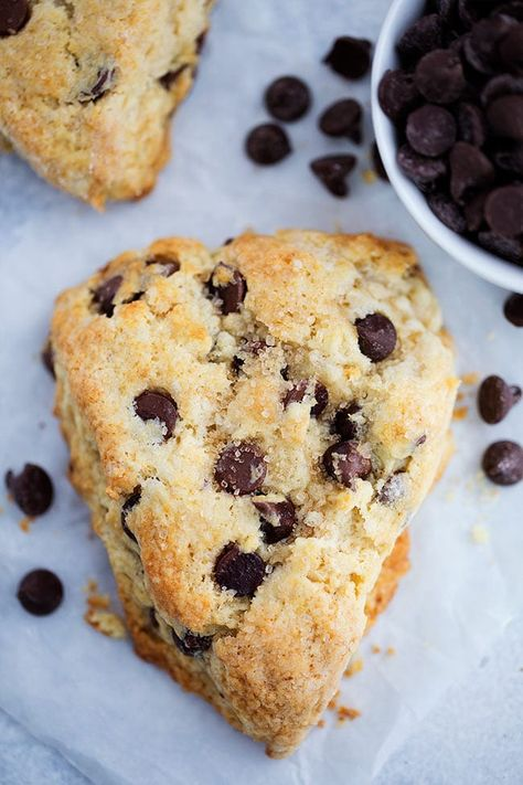 Chocolate Chip Scones-These Soft And Tender Scones Are Dotted With Chocolate Chips And Will Remind You Of A Chocolate Chip Cookie! One Of Our Favorite Treats To Enjoy For Breakfast, Brunch, Or Dessert! #scones #chocolate #chocolatechip #baking #breakfast #sconerecipe #valentinesday