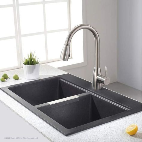 granite 33 l x 22 w double basin dual mount kitchen sink in 2019 rh pinterest com