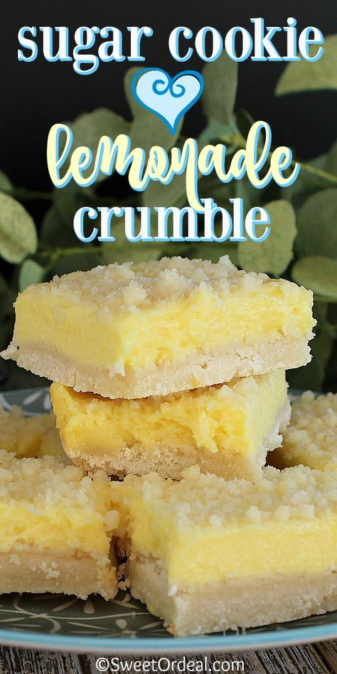 Sugar cookie meets lemonade and it's love at first bite. Before you know it, Sugar Cookie Lemonade Crumble is born and taste buds are happy. Easy to make using a sugar cookie mix, the tart lemony filling of lemonade and cream cheese is a perfect match for the delicious sugar cookie crust.