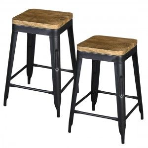 Wood Seat Industrial Metal Counter Stools With Tapered Legs