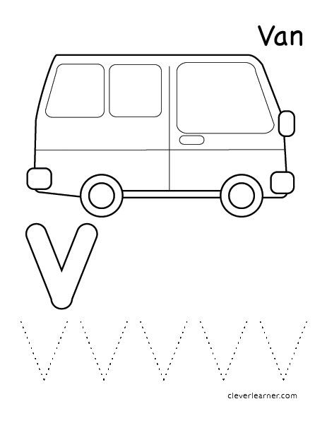 V Is For Van Color Letter Worksheets Letter V Worksheets Letter