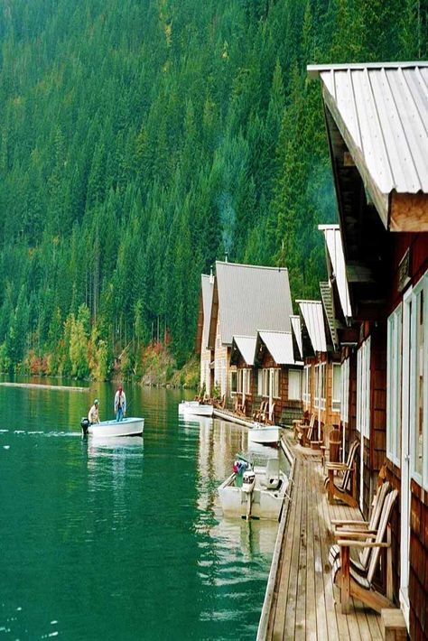 The Floating Resort, North Cascades National Park, Washington Get away from it all, then just keep going. That's the spirit of Ross Lake Resort in North Cascades National Park, which is accessible only by boat or hiking. Cascade National Park, North Cascades National Park, Parc National, National Parks, National Forest, Places To Travel, Places To See, Travel Destinations, Camping Places