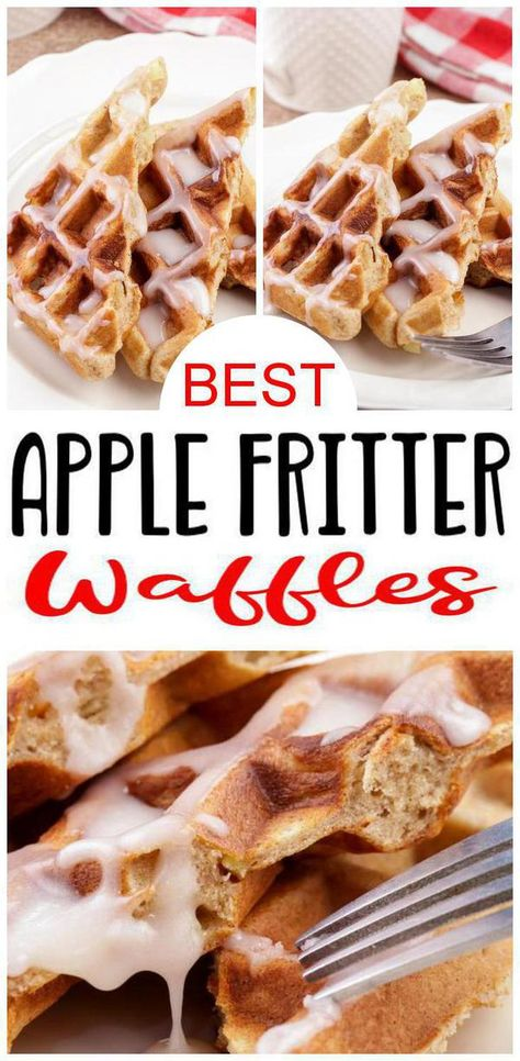 BEST Waffles! Apple Fritter waffles to put in your waffle maker today.Easy waffle recipe for the BEST fluffy waffles. Apple Fritter waffles kids & adults love. Homemade waffles -no frozen or store bought waffles here.Great breakfast, snacks or desserts - perfect waffle bar idea.Make for Father's day brunch, 4th of July breakfast, party food or camping food. From scratch waffles no mix required.Easy waffle maker recipe. DIY waffles to make in your waffle iron.Check out best apple fritter #waffles