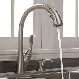 Delta Ashton Stainless 1 Handle Deck Mount Pull Down Handle Lever Kitchen Faucet Deck Plate Included Lowes Com Kitchen Faucet Faucet Kitchen Handles