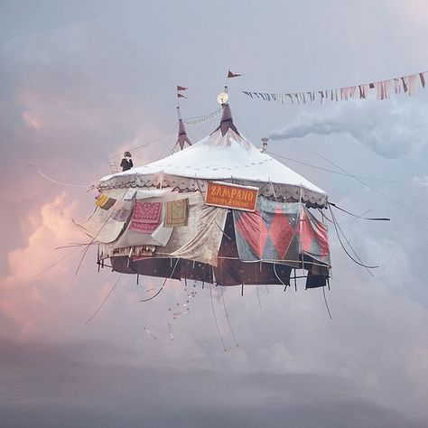 Laurent Chéhère, Flying Houses – Cirque, 2012 © Courtesy of the artist and Galerie Paris-Beijing Concours Photo, Night Circus, Photocollage, French Photographers, Belle Photo, Art Photography, Carnival Photography, Levitation Photography, Vintage Photography