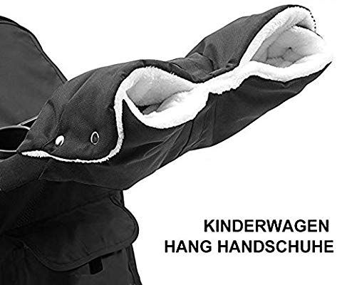 Schwarz Kinderwagen Handw/ärmer Radanh/änger Handschuhe Kinderwagen Handmuff mit Fleece Innenseite Universal Atmungsaktiv Wasserfest Winddicht Radanh/änger f/ür Kinderwagen,Buggy