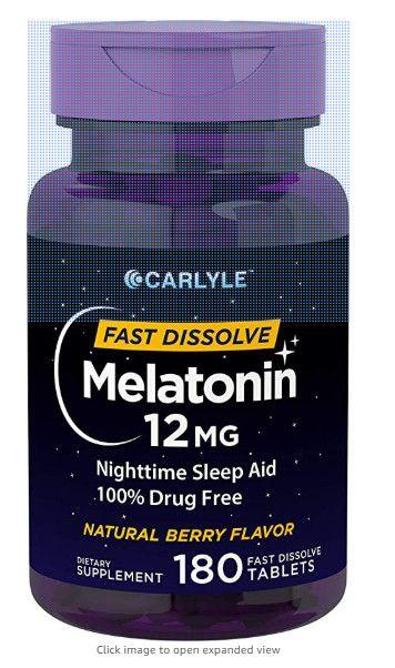 Carlyle Melatonin 12 Mg Fast Dissolve 180 Tablets Nighttime Sleep Aid Natural Berry Flavor Vegetarian N Nighttime Sleep Aid Melatonin How To Fall Asleep