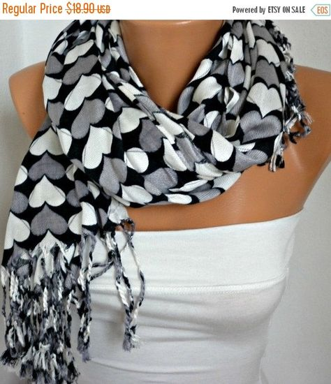 ON SALE Heart Scarf Pashmina Scarf Women Scarf Shawl Scarf - Cowl Scarf with Heart - Multicolor - Gray White Black - fatwoman