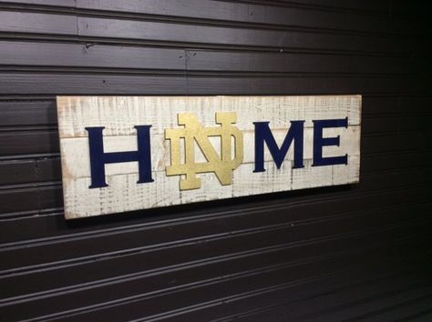 Notre Dame Fighting Irish HOME plaque sign by KDCobbleShop on Etsy