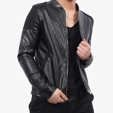 Pristine Leather Mens Leather Biker Motorcycle Coat Slim Fit Outwear Jackets