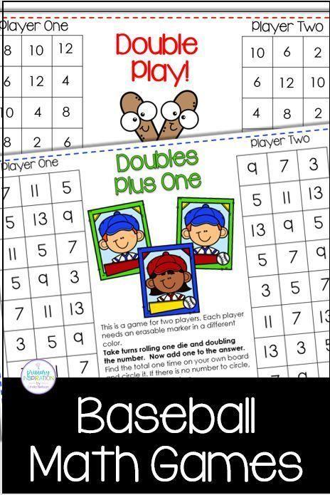 Baseball Classroom Theme Math Games Math Games Math Center Activities First Grade Math