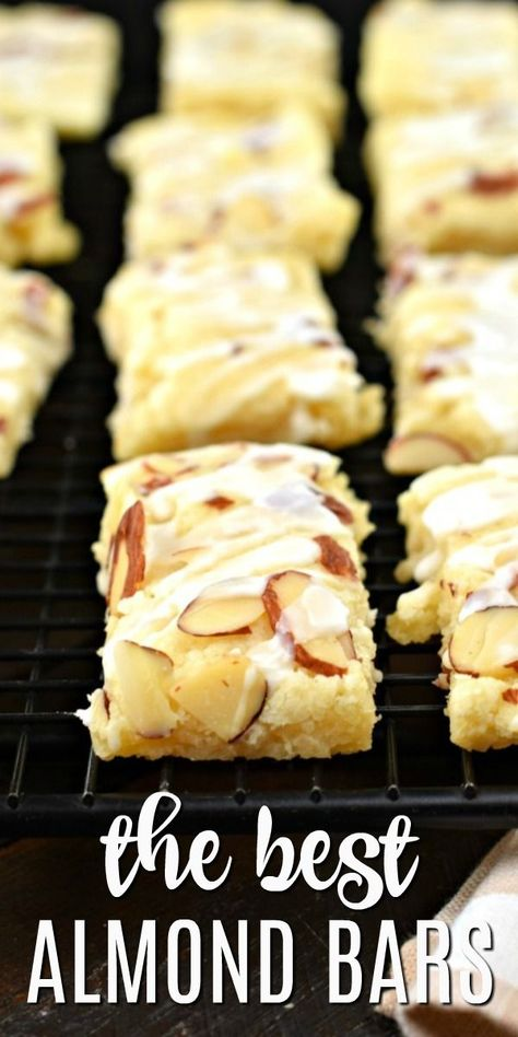 This Almond Bars recipe is a sweet treat that has a shortbread-like texture and . - This Almond Bars recipe is a sweet treat that has a shortbread-like texture and a delicious almond - Just Desserts, Delicious Desserts, Yummy Food, Healthy Food, Desserts For A Crowd, Gourmet Desserts, Fancy Desserts, Ice Cream Desserts, Italian Desserts