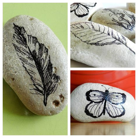 These lovely, decorative stones were made with Sharpies - rock painting