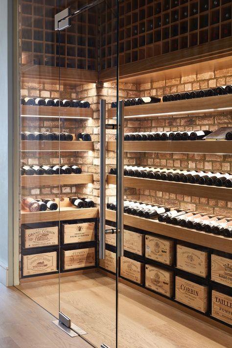 Glass Wine Cellar, Home Wine Cellars, Wine Cellar Design, Wine Cellar Modern, Wine Bar Design, Bodega Bar, Caves, Wine Cellar Basement, Casa Top