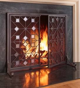 Greenwood Fire Screen With Doors Plowhearth In 2020 Fireplace Screens Fireplace Screens With Doors Hearth