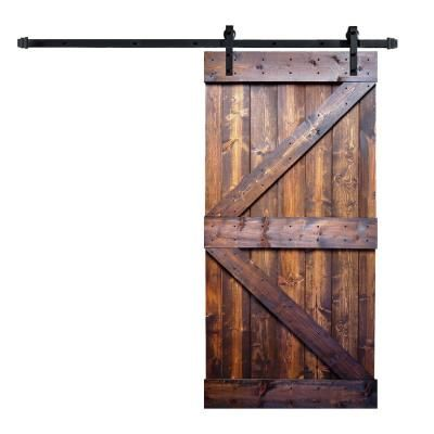 Wellhome 42 In X 84 In K Series Dark Walnut Finished Knotty Pine Wood Sliding Interior Barn Doo In 2020 Barn Doors Sliding Interior Sliding Barn Doors Wood Barn Door