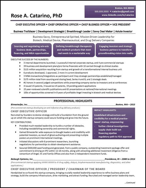 Example Executive Resume - Pharmaceutical Drug Development - pg1 ...