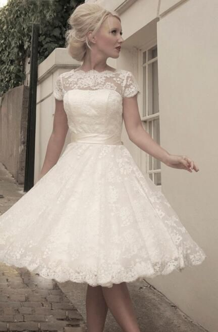 Lovely Scalloped Bateau Knee Length Capped Sleeves Lace Wedding