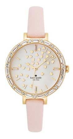 Kate Spade New York 'metro' Crystal Bezel Heart Dial Watch -Dainty hearts waft across the pretty mother-of-pearl dial of a crystal-framed watch set on a slender, scratch-resistant leather strap. - at Nordstrom.