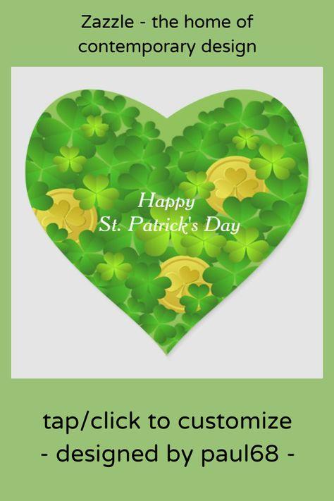 Happy St. Patrick's Day Shamrocks Heart Sticker #happy #st. #patrick's #day #text #HeartSticker