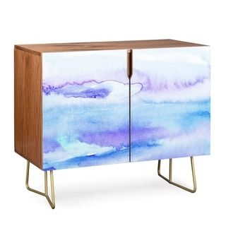 Deny Designs Blue Watercolor Credenza Birch Or Walnut 2 Leg