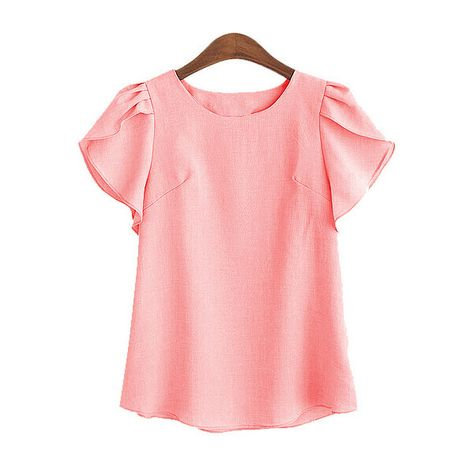 d17ab53651 SheIn(sheinside) Pink Ruffle Sleeve Cute Shirt ($14) ❤ liked on Polyvore  featuring tops, pink, red stripe shirt, ruffle sleeve top, red collar shirt,  ...
