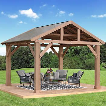 Yardistry Cedar Pavilion 14 Ft X 12 Ft With Aluminium Roof With