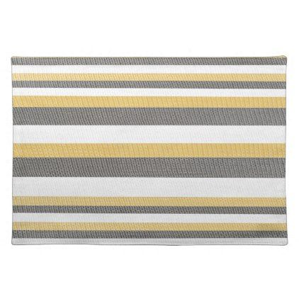 Classic Grey And Yellow Stripes Pattern Placemat Classic Gifts Gift Ideas Diy Custom Unique Grey Placemats Placemats Stripes Pattern