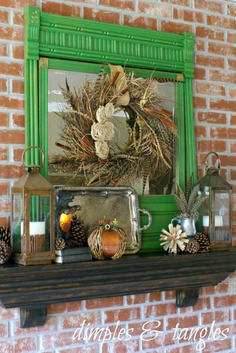 Colorful Fall Mantel mantle