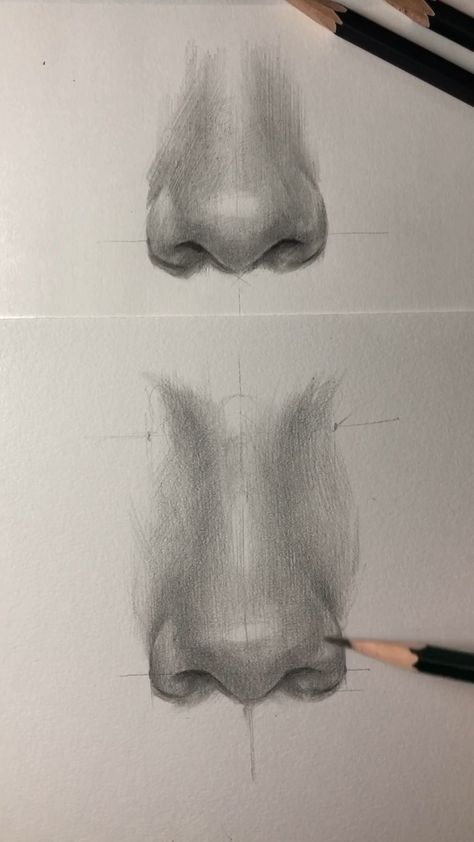 How to draw a nose. Drawing by Nadia Coolrista