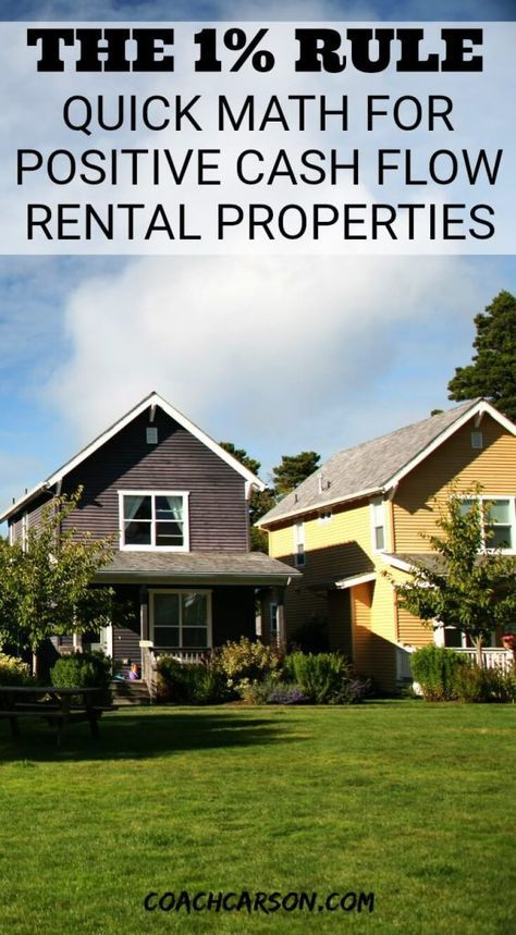 The One Percent Rule Quick Math For Positive Cash Flow Rental Properties Real Estate Investing Rental Property Rental Property Investment Buying Investment Property