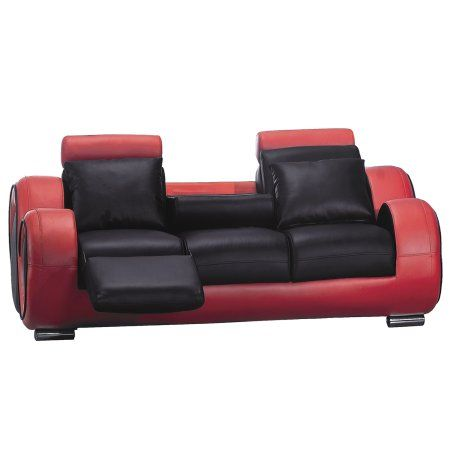 Black And Red Contemporary Sofa With Drop Down Recliners ...