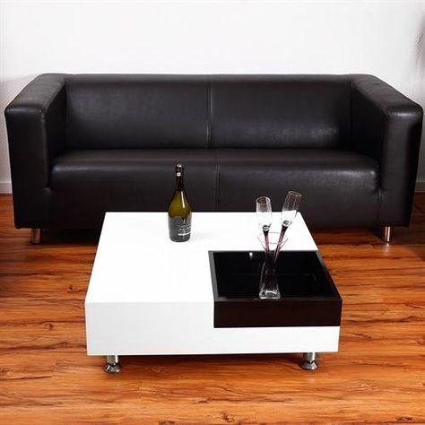 Designer Wohnzimmer Couchtisch in weiß schwarz B80 x H30 x T80 cm - designer wohnzimmer schwarz