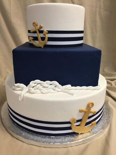 wedding cakes with cupcakes Nautical Birthday Cakes, Nautical Wedding Cakes, Nautical Cake, Nautical Theme, Wedding Cakes With Cupcakes, Cool Wedding Cakes, Cupcake Cakes, Marine Cake, Navy Cakes
