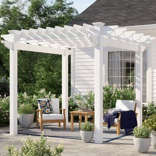 Suncast 10 Ft W X 12 Ft D Solid Wood Pergola Wayfair Aluminum Pergola Pergola Patio Outdoor Pergola