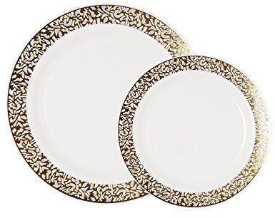 Party Joy 200 Piece Plastic Dinnerware Set Lace Collection 100 Dinner Plates 100 Salad Plates Heavy Duty Premium Plastic Plates F Plates Plast