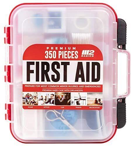 Amazon Com M2 Basics 350 Piece Emergency First Aid Kit Dual Layer Wall Mountable Medical Supplies For B Medical Supplies First Aid Emergency First Aid Kit