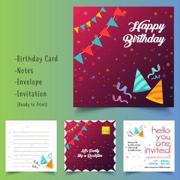 عيد ميلاد سعيد حزمة مجموعة جاهزة للطباعة مغلف بطاقة وتلاحظ وهمية المتابعة عيد ميلاد الطفل الطرف والقرطاسي Happy Eid Cards Eid Cards Happy Birthday Cards