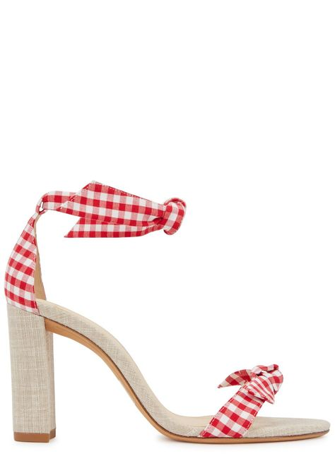 Alexandre Birman red and white canvas sandals Sand block