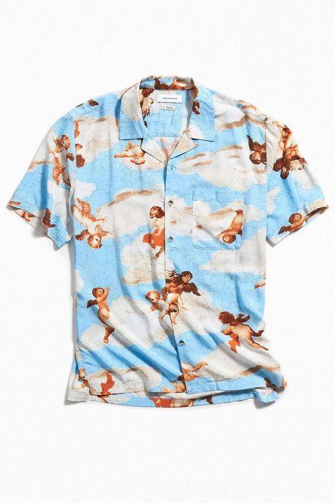 Jamais-Vu Hawaii Beach Shirt Summer Short Sleeve Shirt Mens Casual Loose Button Down Shirts