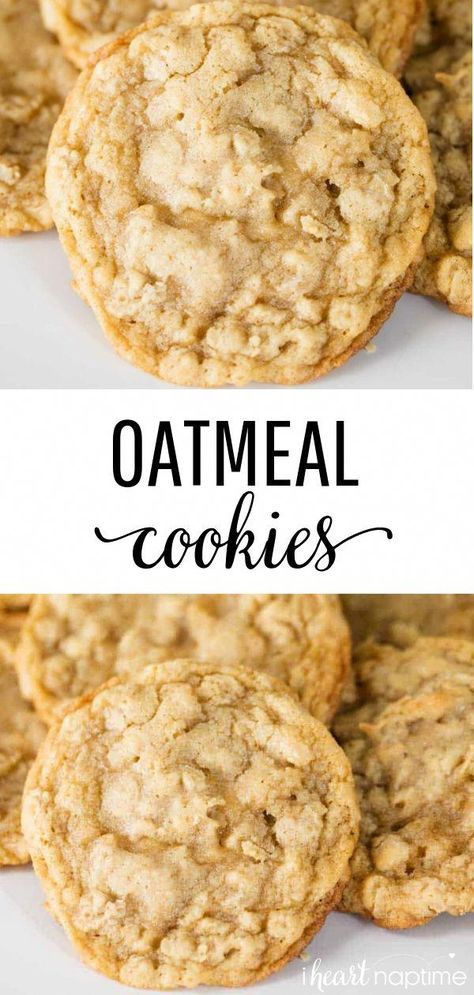 Best Oatmeal Cookies - Crispy around the edges and soft and chewy in the center. So easy to make and even easier to eat! #cookies #cookierecipes #cookiedough #oatmeal #oatmealcookies #oatmealrecipes #oats #baking #bakingrecipes #recipes #iheartnaptime #HowToEatHealthyFood
