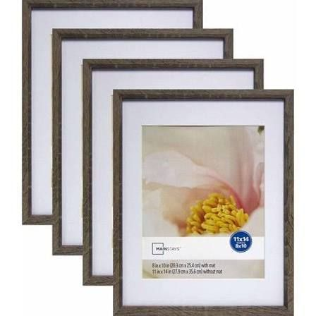 Mainstays Linear 11 Inch X 14 Inch Matted To 8 Inch X 10 Inch Rustic Frame Set Of 4 Size 11 X 14 Gr In 2020 Rustic Frames Rustic Picture Frames Picture Frame Mat