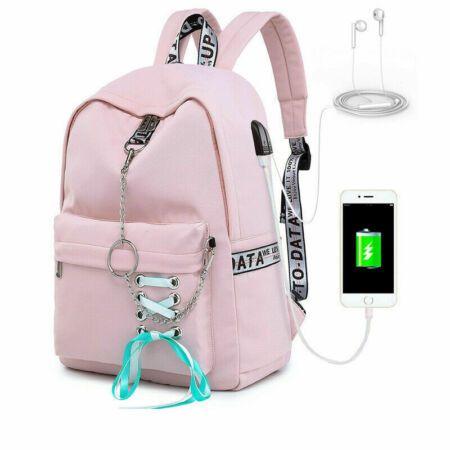 New Women Backpack Usb Charging Large School Bags For Teenage Girl