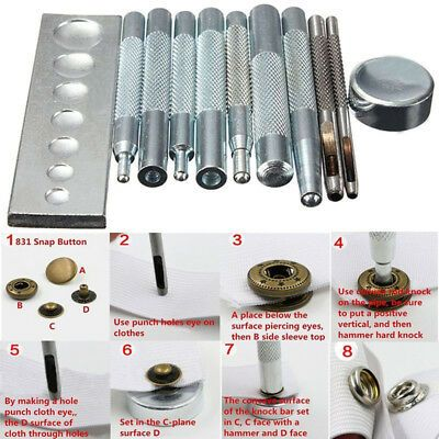 Craft Tool Die Punch Snap Rivet Setter Base Kit For Leather Craft With Hammer