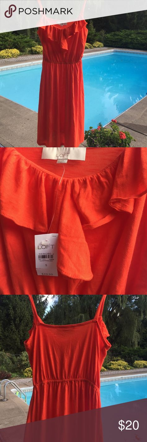 Loft coral sundress brand new Brand new with tags a pretty coral sundress with ruffle necklines. Cotton blend and very cute! Sale🎀🎀below knee LOFT Dresses Midi