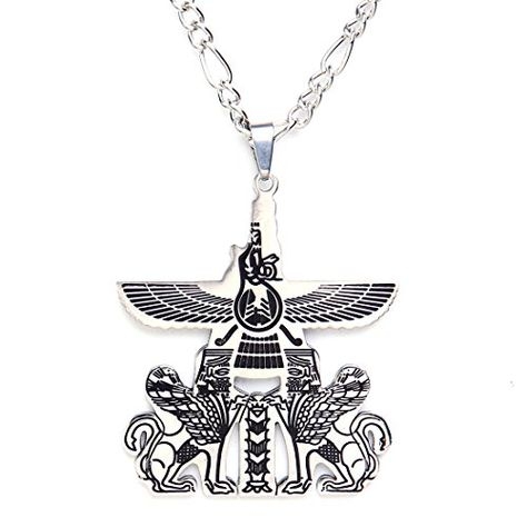 Silver Pt Persian Persia Soldier Necklace Chain Parsi Art Gift  Farvahar Pahlavi