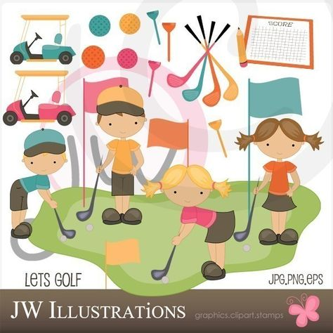 Golfing Boys Cute Digital Clipart Commercial Use Ok Golf Etsy Digital Clip Art Card Design Clip Art
