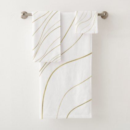 White Gold Wavy Lines Modern Glam Bath Towel Set Zazzle Com