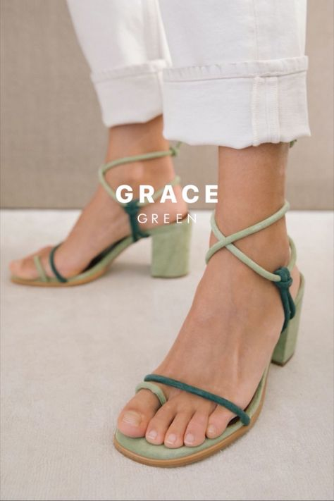 An all-strap sandal held by the toe for a playful touch. Tied around the ankle as you see fit; change it up every once in a while with this versatile, half-casual, half-dressy essential. Look Fashion, Fashion Shoes, 2000s Fashion, Korean Fashion, Fashion News, Luxury Fashion, Pumps, Heels, Green Sandals